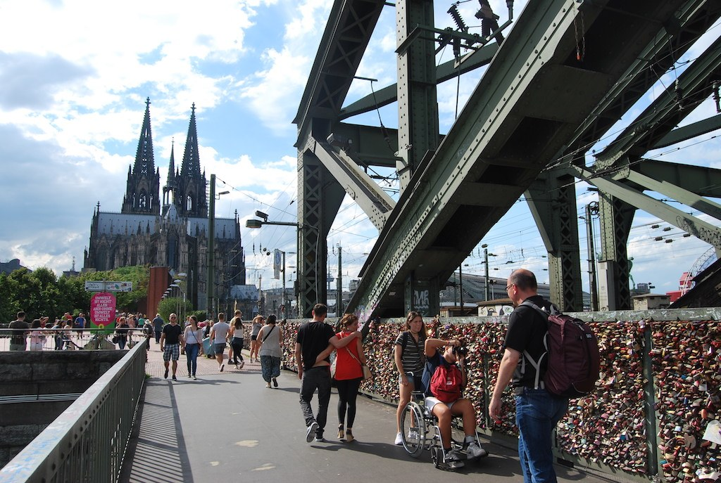view of cologne from the bridge towards the famous cathedral
