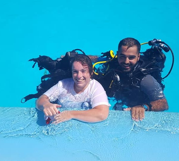 two people doing diving school