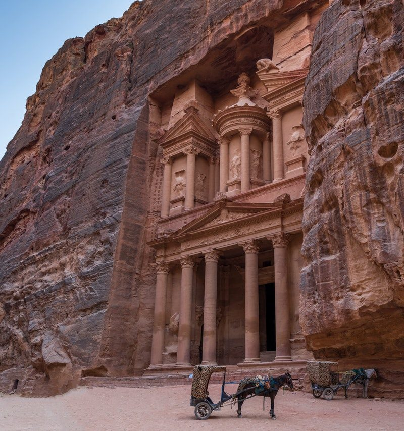 view of the stone facade of Petra in Jordan