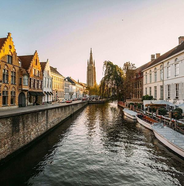 view of the bruges canal from a bridge