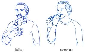 sign language gestures in italian for beautiful and eating