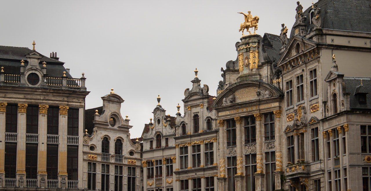 view of some of the houses in the grande place in Brussels