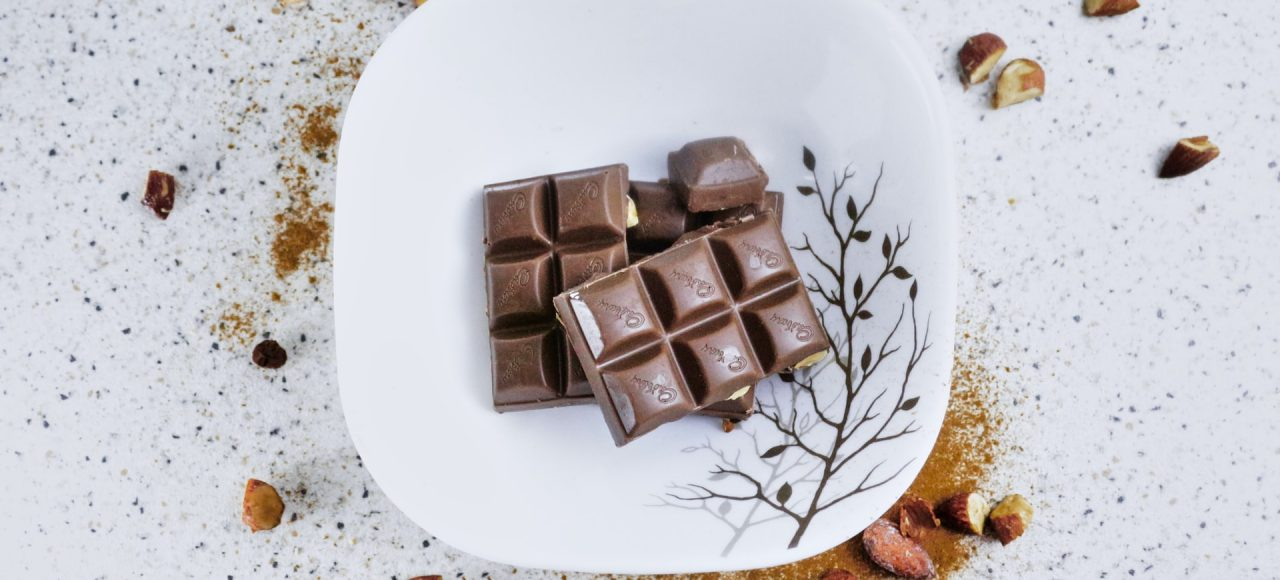 a dish of chocolate tablets
