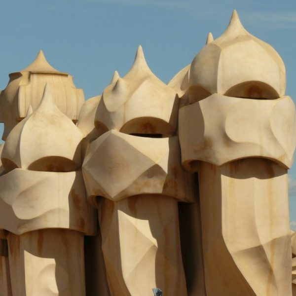 the heads of warriors shaped chimneys of the Pedrera building in Barcelona