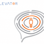 logo elevator project with one human shape in the middle of various circles